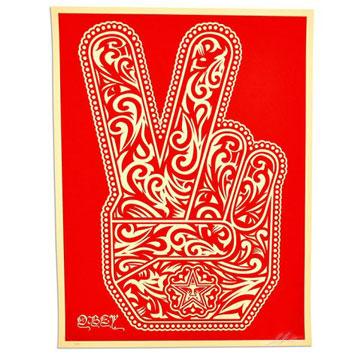 obey shepard fairey peace fingers print