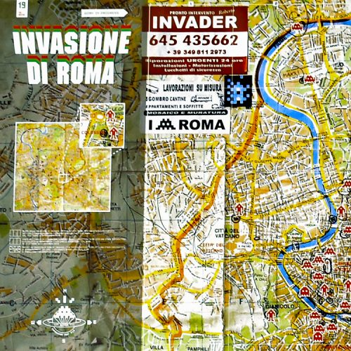 invader roma signed screenprint showing top left map info
