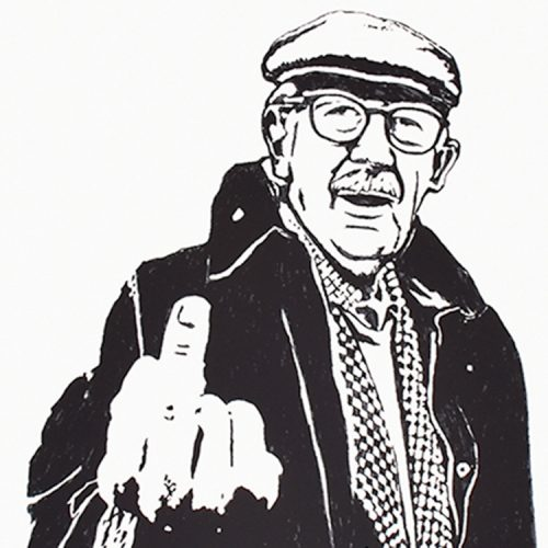 gonefellow rude farmer screenprint showing middle with person holding up middle finger