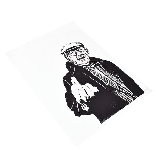 gonefellow rude farmer screenprint showing left side of print