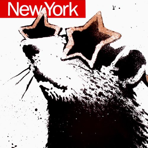 banksy time out new york print showing middle of print with rat in star sunglasses
