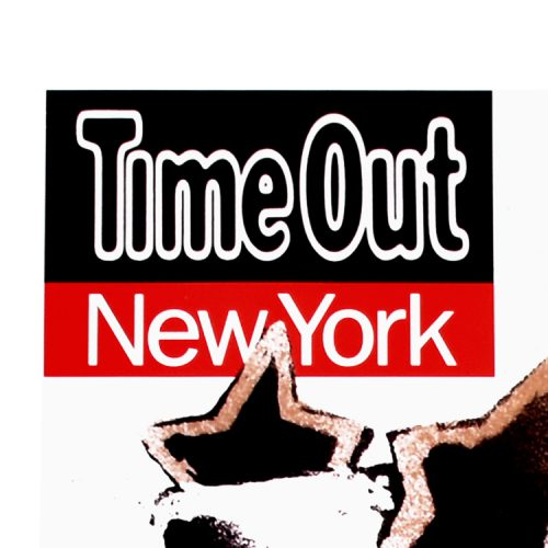 banksy time out new york print showing left top of print with large time out new york letters in black and red
