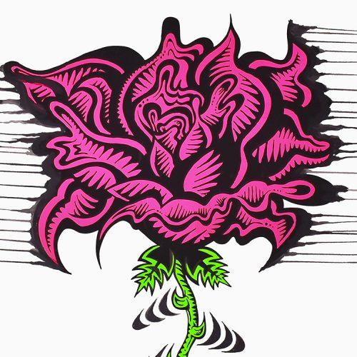 damon johnson rose stripe hand embellished print showing large rose in detail