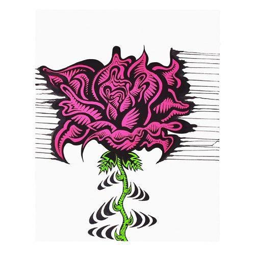 damon johnson rose stripe hand embellished print