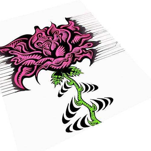 damon johnson rose stripe hand embellished print showing left side of print