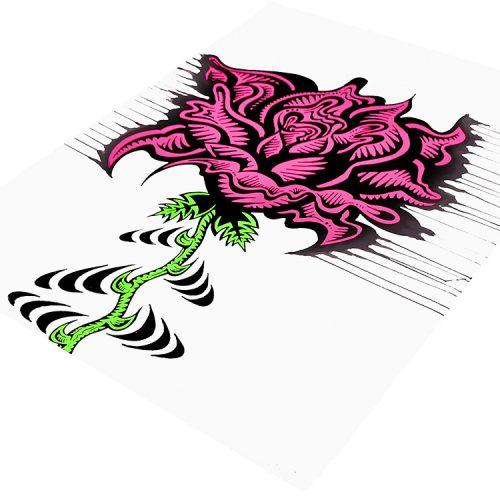 damon johnson rose stripe hand embellished print showing right side of print