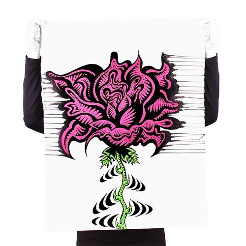 person holding damon johnson rose stripe hand embellished print