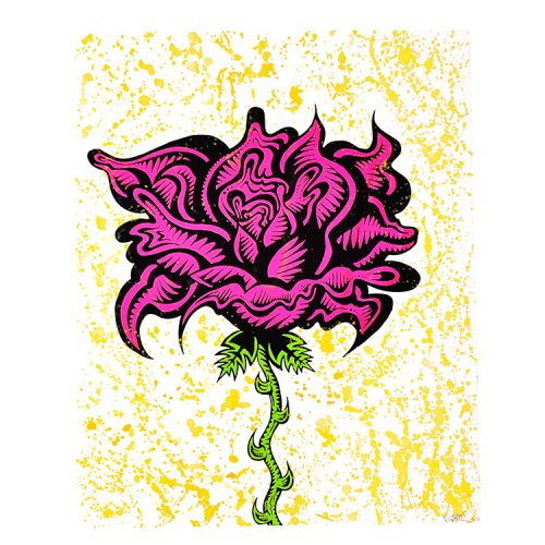 damon johnson rose yellow hand embellished print