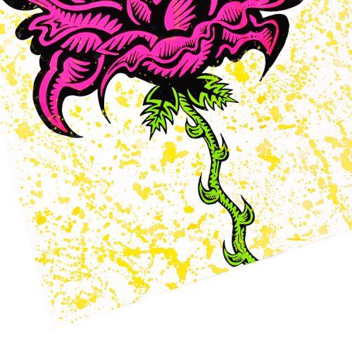 damon johnson rose yellow hand embellished print showing left side of print