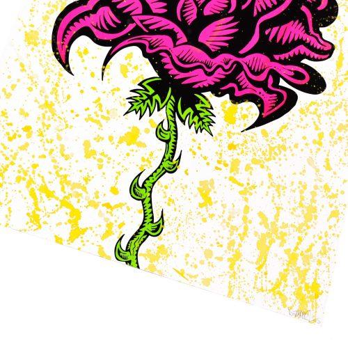 damon johnson rose yellow hand embellished print showing bottom right of print