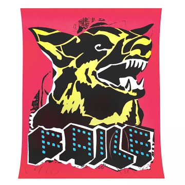 faile dog black light print showing entire print