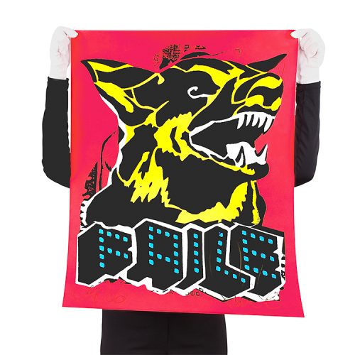 person holding faile dog black light print