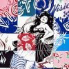 faile visions victoire print showing middle of print with woman and letters