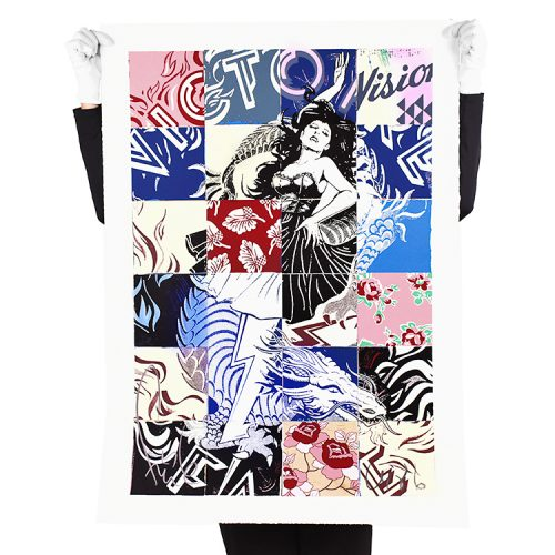 person holding faile visions victoire print