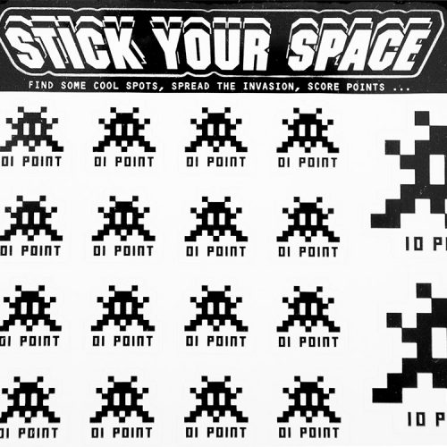 invader stick your space sticker pack showing top middle of sticker pack with stick your space written