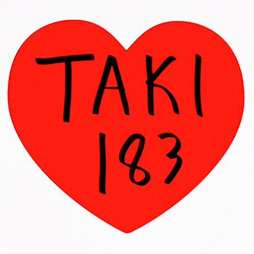 taki 183 i love ny hand finished print showing love heart in print with taki hand tagged