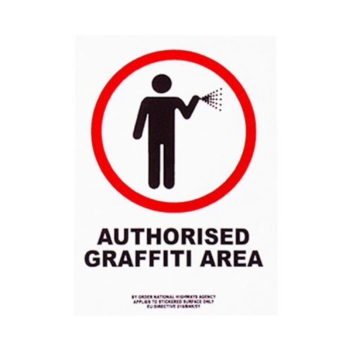banksy authorised graffiti area sticker showing person in red circle with spraycan