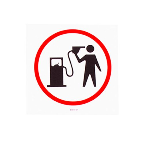 banksy petrol head sticker showing person in red circle holding gasoline pump