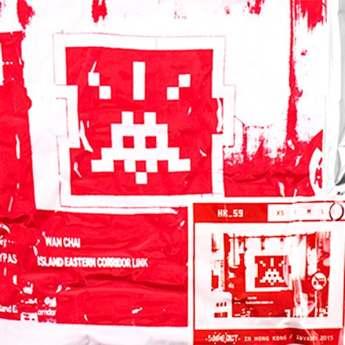 showing close up detail of invader hk-59 t-shirt in white and red with invader and size