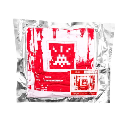 invader hk-59 t-shirt in white and red in sealed packaging