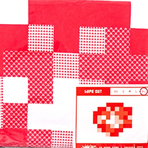 close up of invader wipe out white and red t-shirt showing invader detail and size