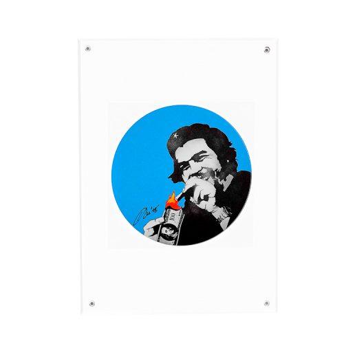 kunstrasen burn capitalism burn blue signed sticker in clear frame