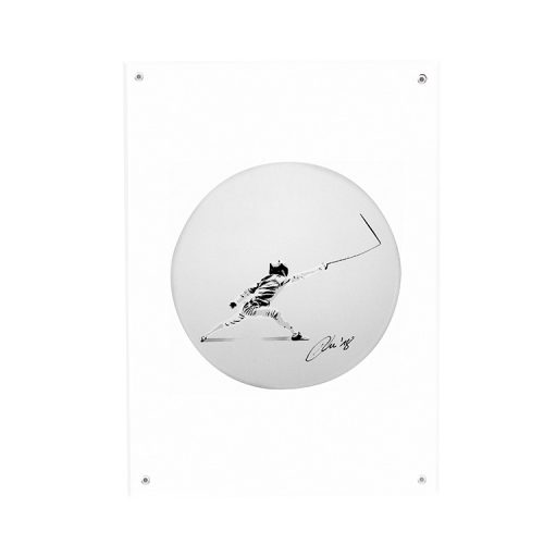 kunstrasen signed attacking the blank canvas sticker in clear frame