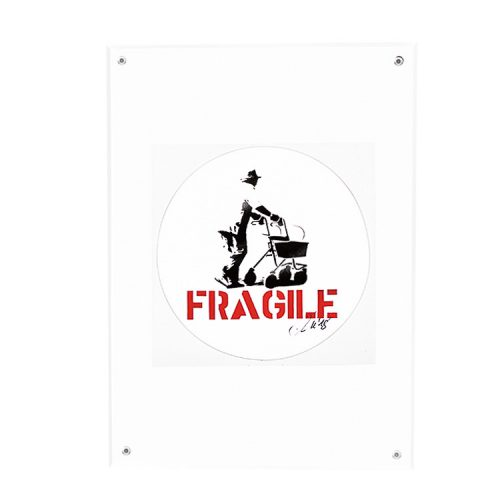 kunstrasen signed fragile sticker in clear frame