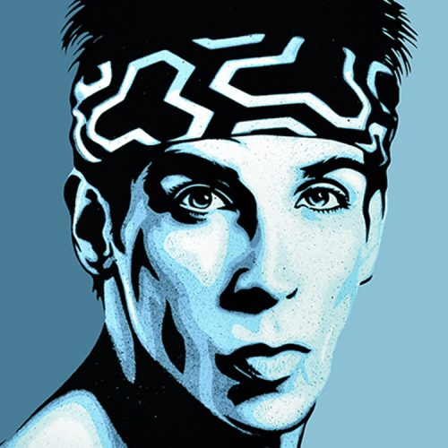 shepard fairey obey zoolander print showing middle with zoolander close up detail