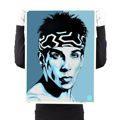 person holding shepard fairey obey zoolander print