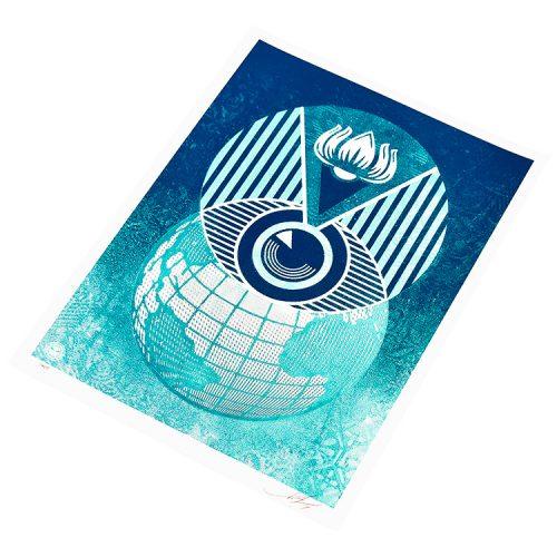 obey shepard fairey flint eye global alert limited edition print showing right side of print