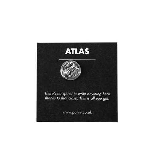 pahnl atlas pin badge showing back with packaging and text