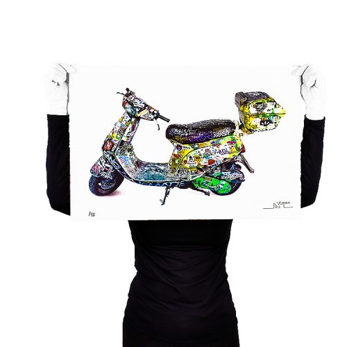 person holding invader scooter print