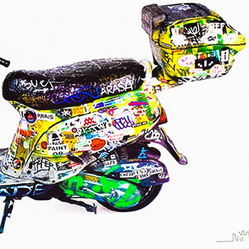 invader scooter print showing back half of scooter