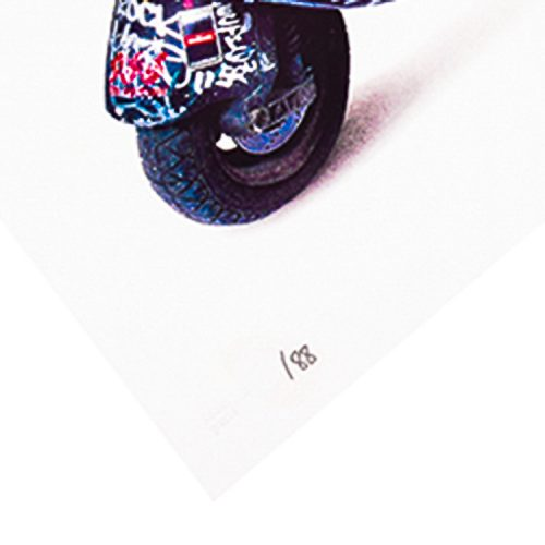 invader scooter print showing left side bottom of print with edition number