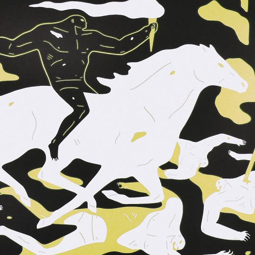 cleon peterson victory gold print showing middle of print with person on horse holding torch