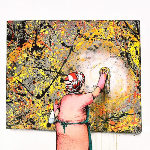 dran taches lithograph showing woman dressed as maid cleaning off what looks to be a jackson pollack painting