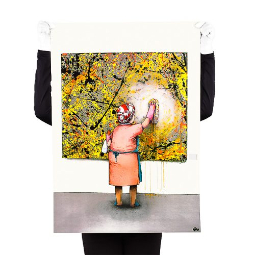 person holding dran taches lithograph