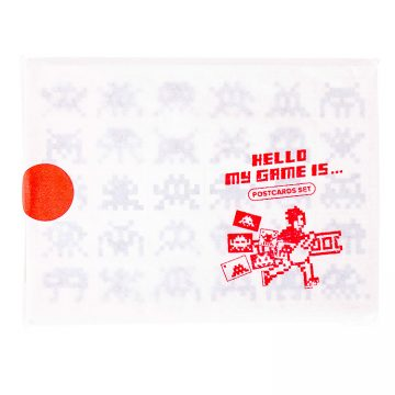 invader hello my game is postcard set with hand stamped text and invader with ladder