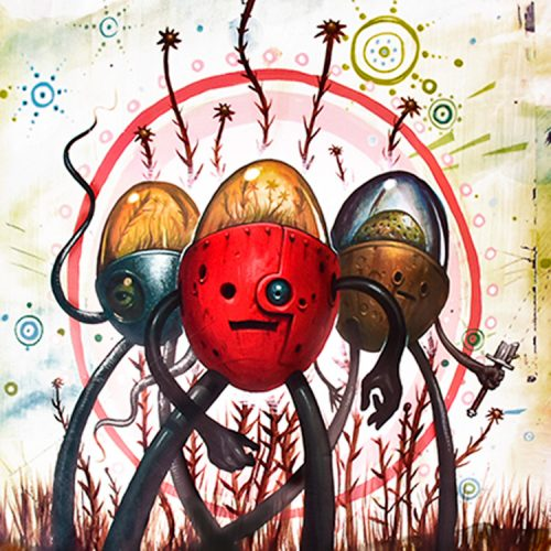 jeff soto tres flores middle of print with three characters in various poses