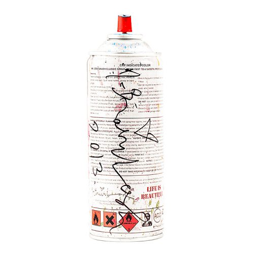 Back of Mr.Brainwash Spray can cyan showing artist signature