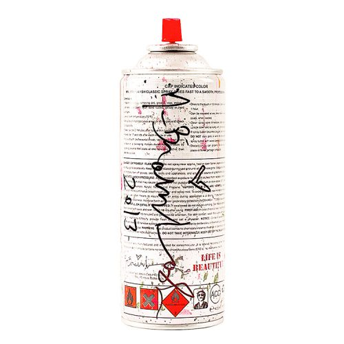 back of mr.brainwash pink spray can showing artist signature