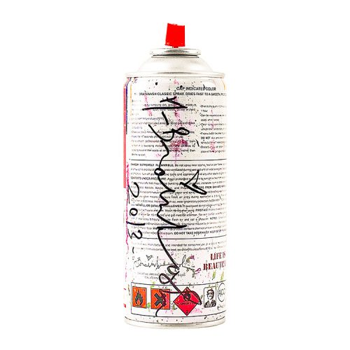 showing back of mr. brainwash spray can sculpture in white with artist signature