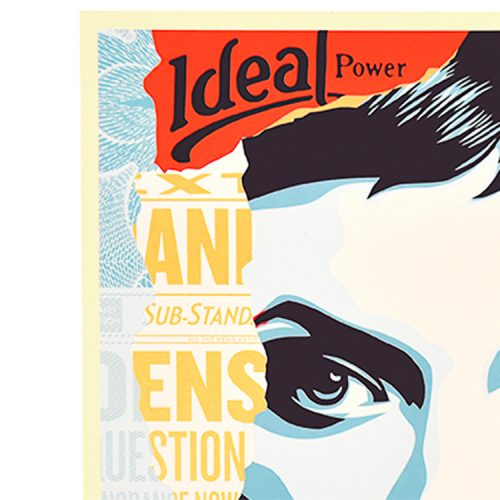 obey shepard fairey ideal power screenprint showing top left of print with idea power in text and woman eye
