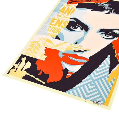 obey shepard fairey ideal power screenprint showing right side of print