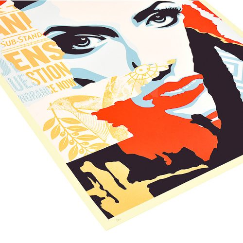 obey shepard fairey ideal power screenprint showing bottom left of print