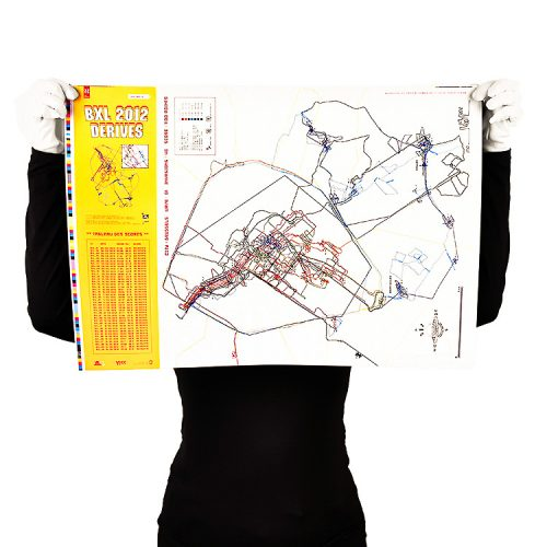 person holding invader brussels limited edition screenprint map