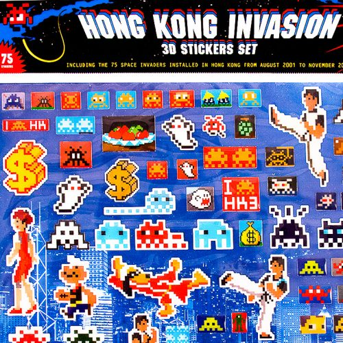invader hong kong invasion 3d puffy stickers showing top left with stickers and banner with hong kong invasion text