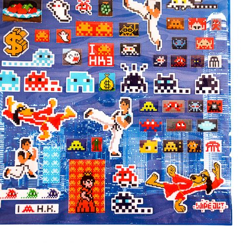 invader hong kong invasion 3d puffy stickers showing right side with many invader stickers