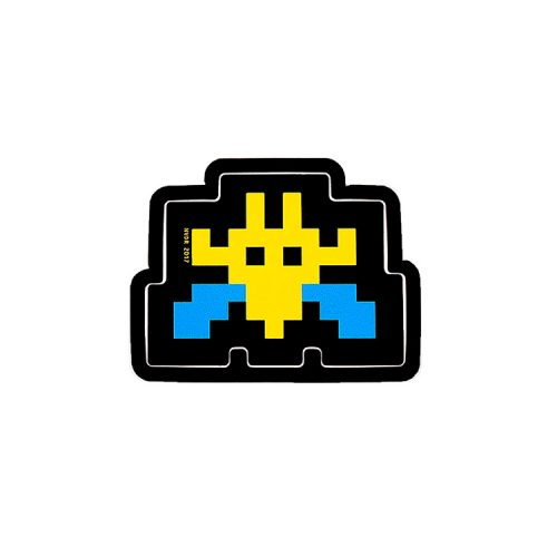 invader blue and yellow invader sticker